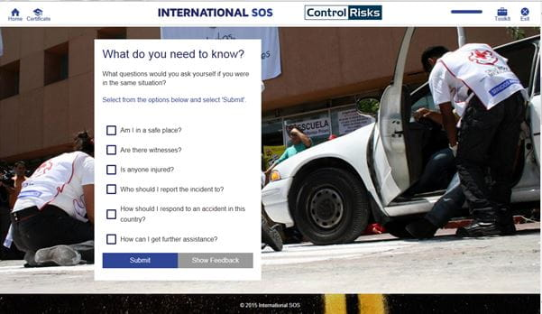 Screenshot of Road Safety eLearning